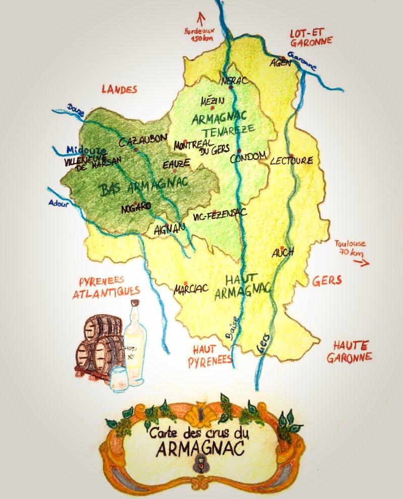 Armagnac Informationen Karte